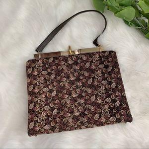 Vintage | Brown Textured Handbag Purse Bag Leaf
